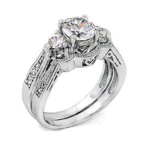 3 Stone Diamond CZ Sterling Silver Ring Set sz 5-9